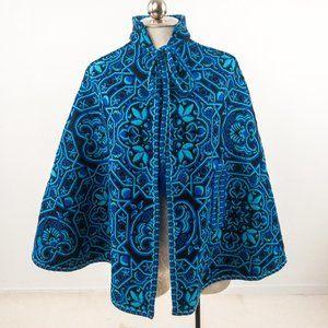 Vintage S Handwoven Tapestry Cape Coat Blue